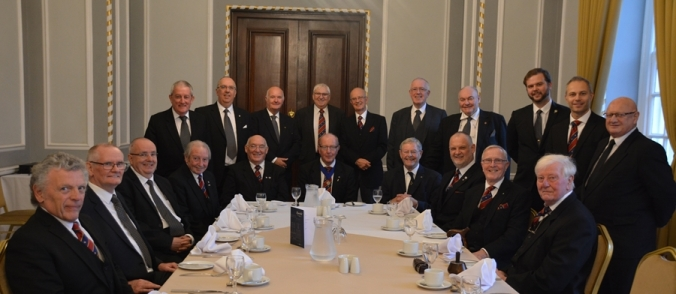 Phil Myers (President) centre with Lodge and Association members and visitors