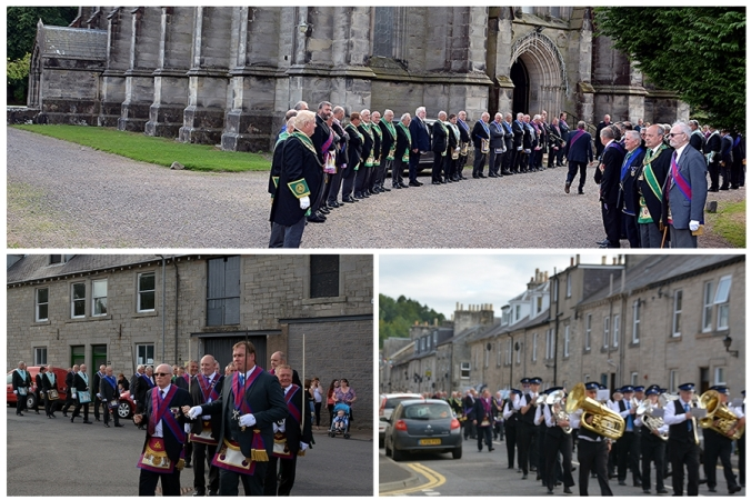 The procession arrives at the church (top) Turning to cross the bridge and the band pictured below