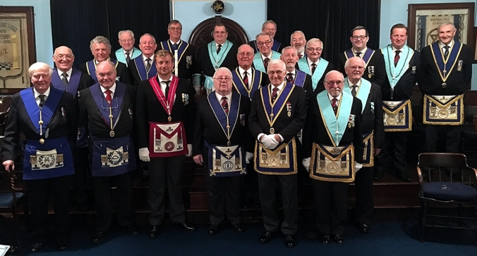 The brethren of Prince George Lodge with members of MAMR