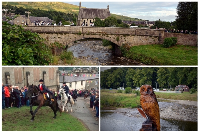 The bridge in Lanholm in the beautiful setting of The Scottish Borders with horse riders and an owl carved from a tree stump