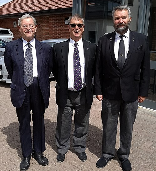 Left to right, John Acaster, President Peter Robinson and Allan Shields