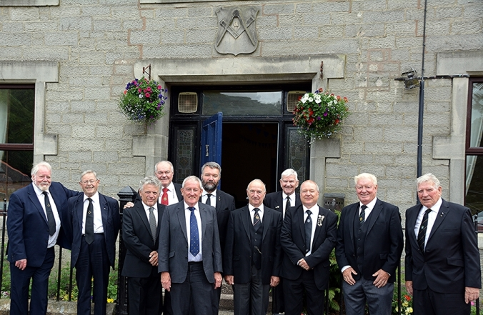 Members of MAMR (left to right) J Belton, J Acaster, T Thomas,I Eastwood, P Nicholson and A Shields with members of Lodge 107