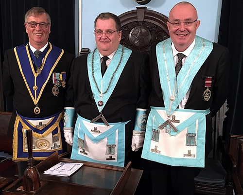 Our WM WBro Peter Robinson with the WM of Lodge of Prince George, WBro Peter Grace and the speaker WBro Chris Powell
