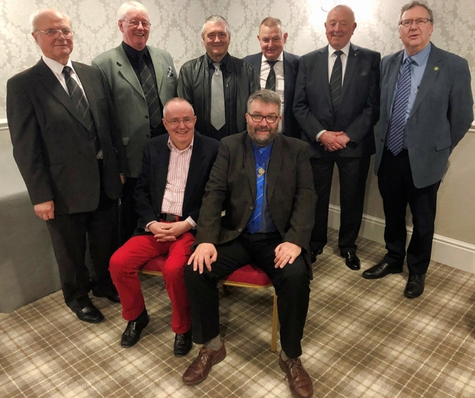 At the front Chris (left) is with Allan Shields, MAMR president with distinguished brethren from ROS: - Royce Batters Substitute PGM Cheshire, Ian Clarke Past PGM Counties Palatine of Lancaster and Chester, John Aitkin current PGM Counties Palatine of Lancaster and Chester, John Hill PGM in Cumberland and Westmorland, Jimmy Adams Past PM Cheshire and Rod Geeson current PM Cheshire.