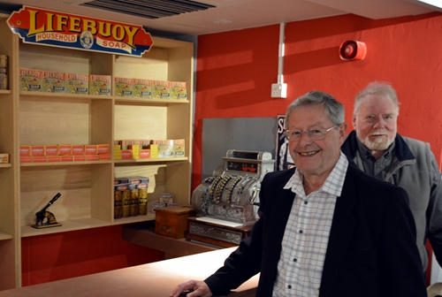 John Acaster (right) with John Belton in the shop