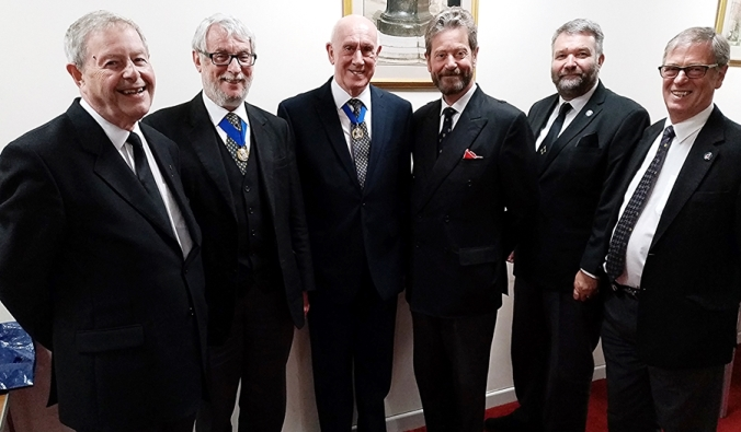 From Left, John Acaster, John Wade, Mike Karn, Roger Pemberton,Allan Shields and Past President Peter Robinson