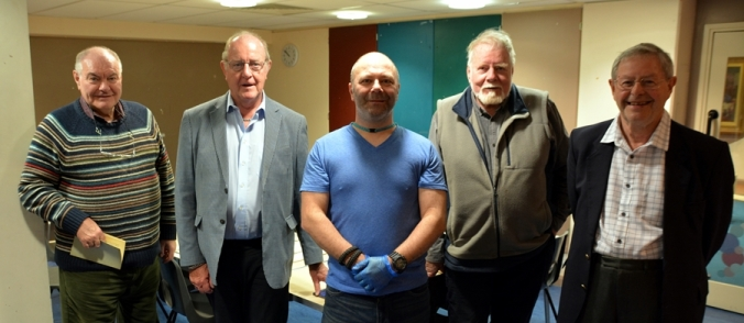 Left to right, Ivan Eastwood, Phil Myers, David Moffat (curator), John Belton and John Acaster