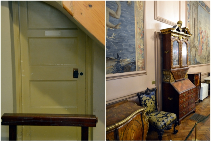 The door on the picture on the left is the secret entrance to the lodge room with the entry being via the doorway behind the dresser seen in the right hand picture
